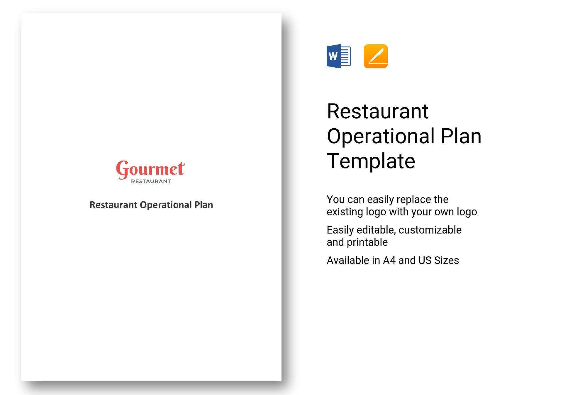 Restaurant Operational Plan Template In Word Apple Pages