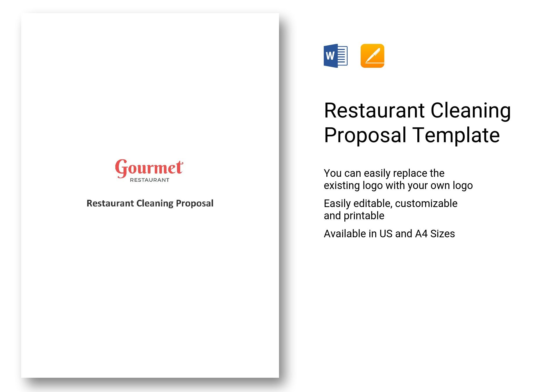 Restaurant Cleaning Proposal Template In Word Apple Pages