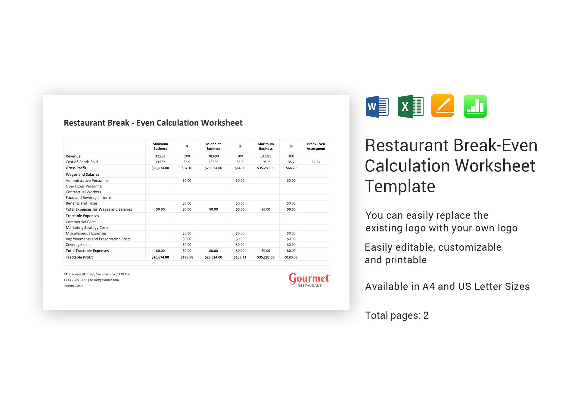Restaurant Break Even Calculation Worksheet Template In Word Excel Apple Pages Numbers