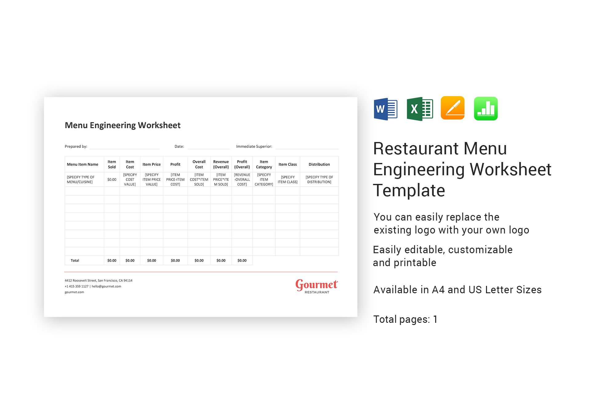 Restaurant Menu Engineering Worksheet Template In Word Excel Apple Pages Numbers
