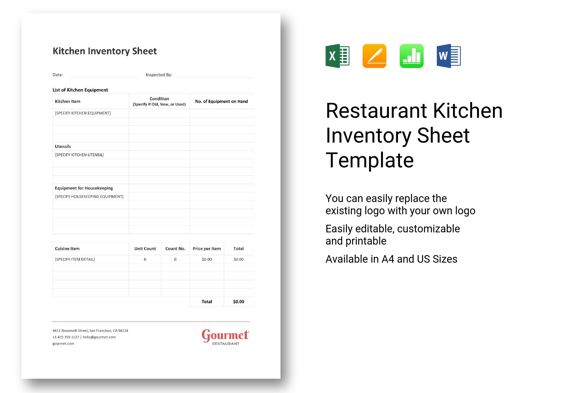 Restaurant Kitchen Inventory Sheet Template In Word Excel