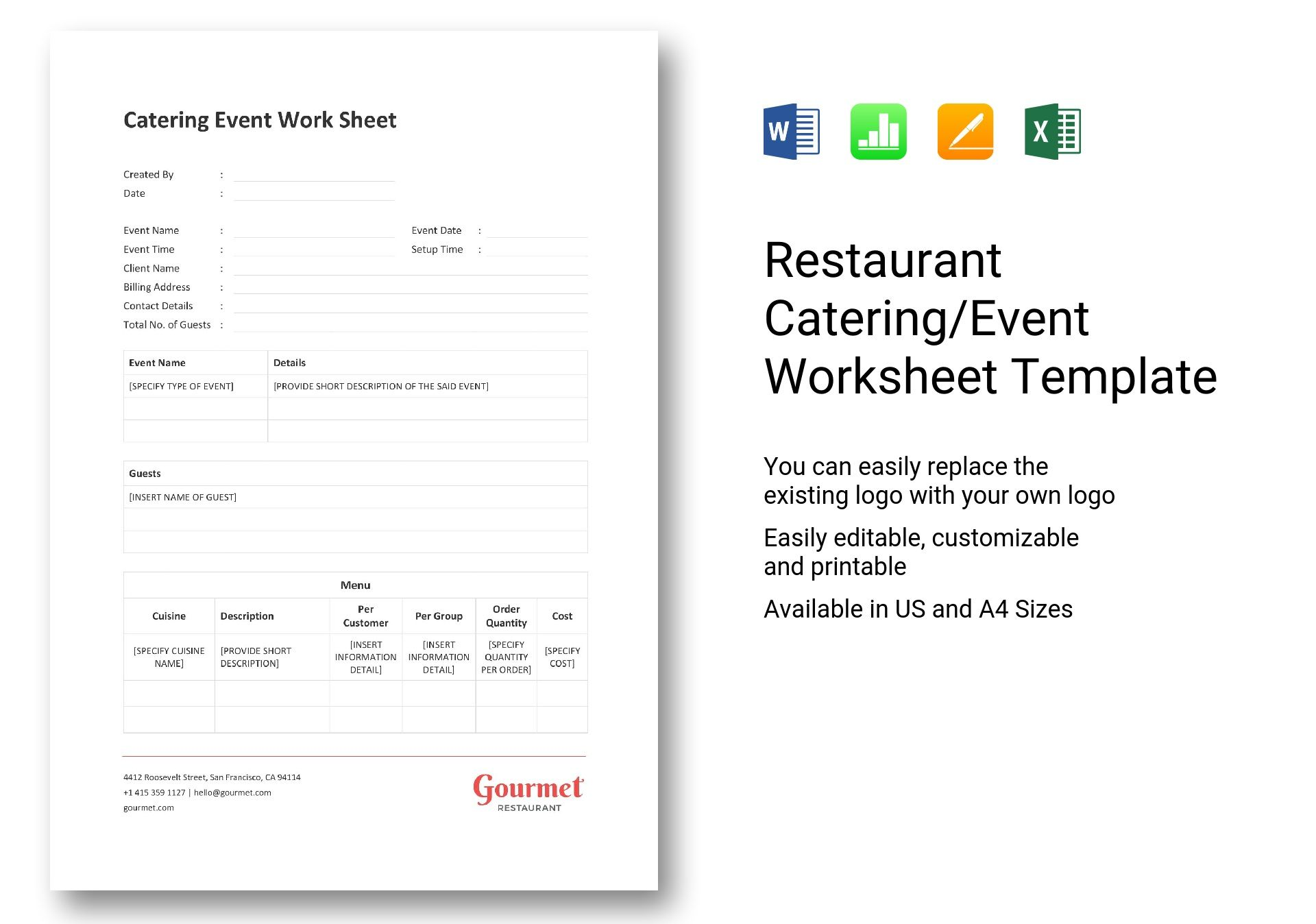 Restaurant Catering Event Worksheet Template In Word