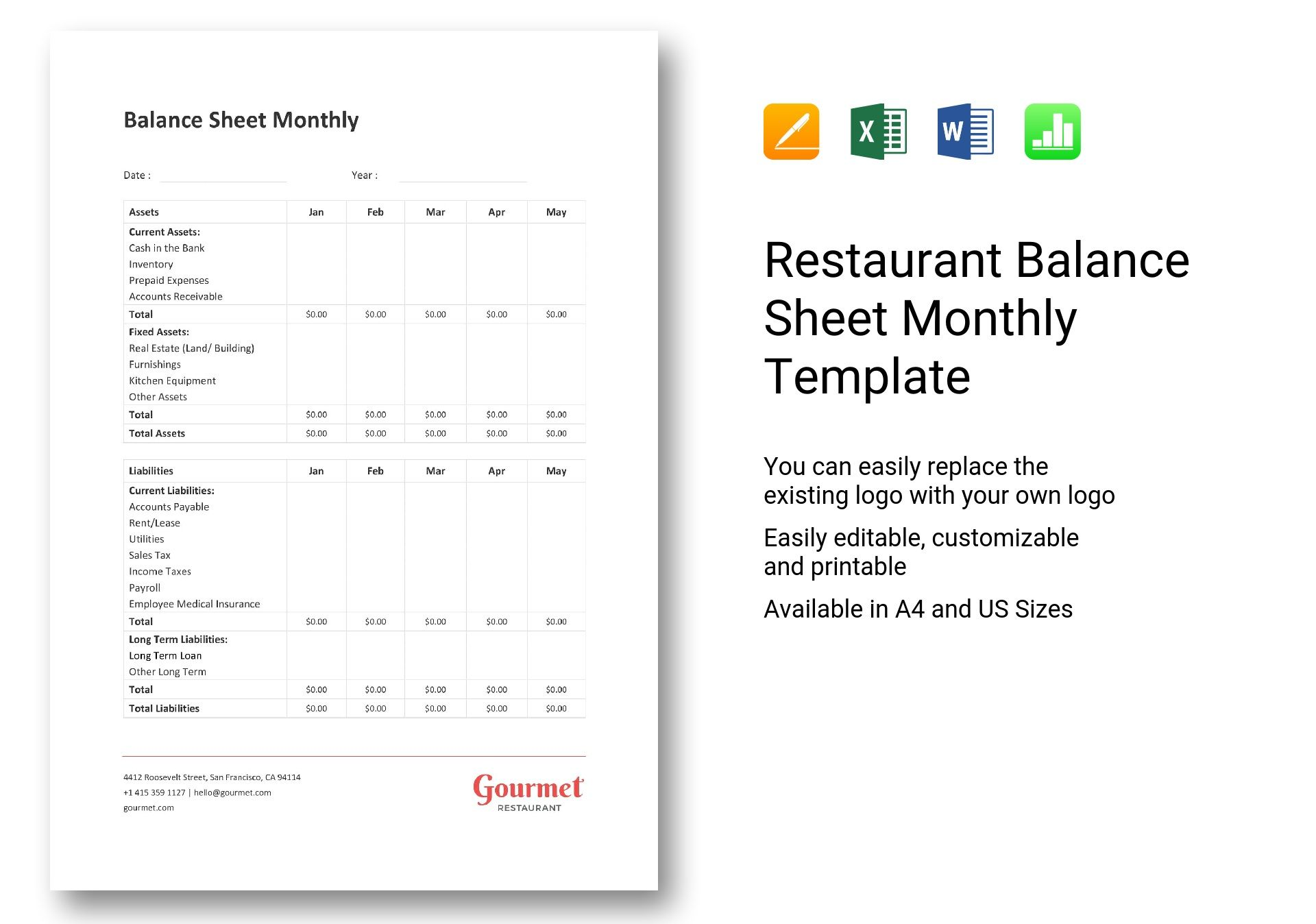 Restaurant Balance Sheet Monthly Template In Word Excel