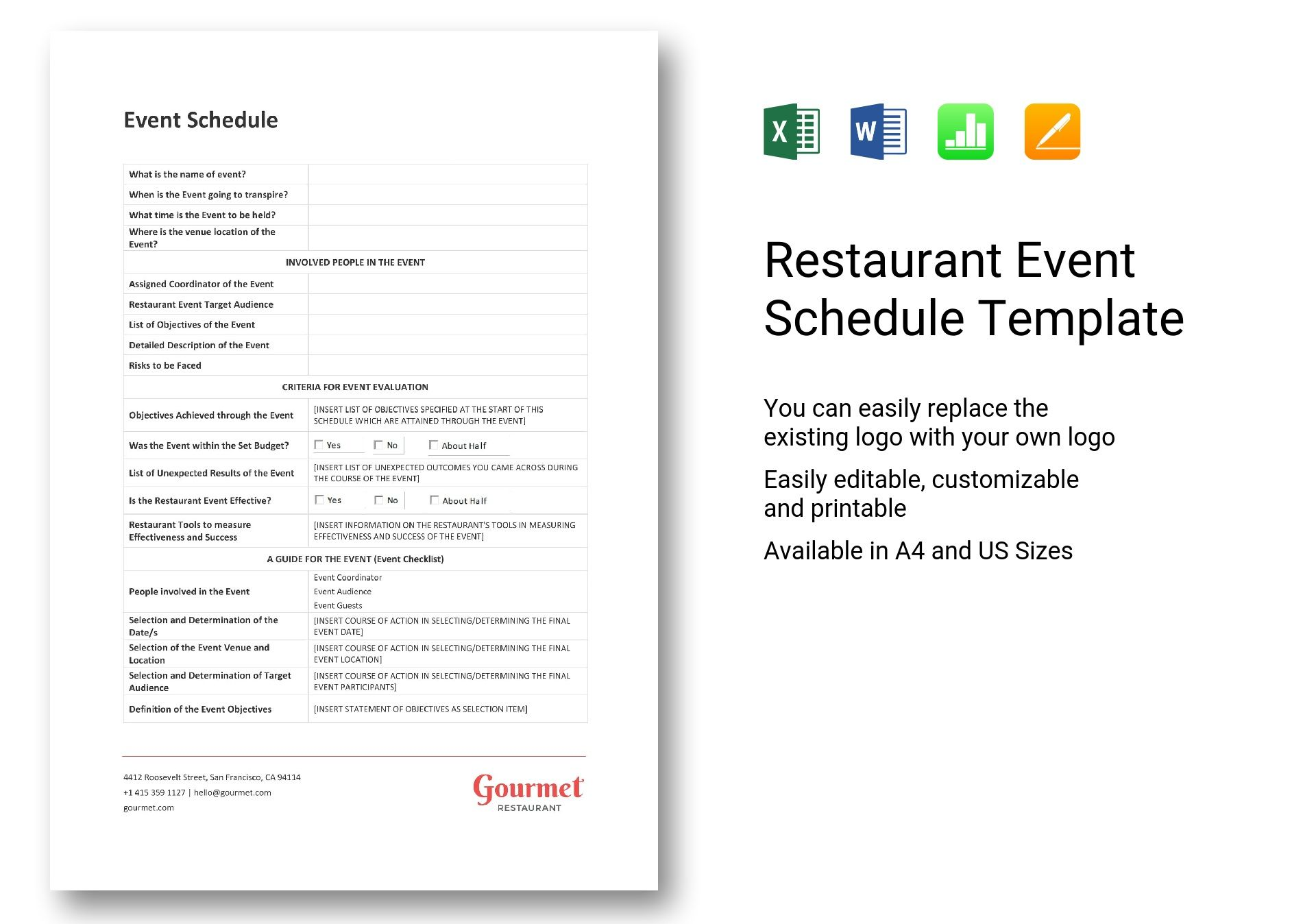 Restaurant work schedule template employee weekly printable, free excel employee scheduling template when i work, restaurant shift schedule template,. Restaurant Event Schedule Template In Word Excel Apple Pages Numbers
