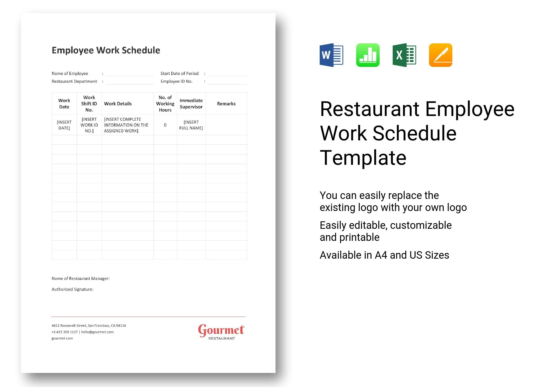 18/04/2019· restaurant work schedule template walkthrough we've even crafted a template which you can edit and customize to match the number and type of employees you are scheduling and the kind of shifts you've chosen to cover your restaurant operation. Restaurant Employee Work Schedule Template In Word Excel Apple Pages Numbers