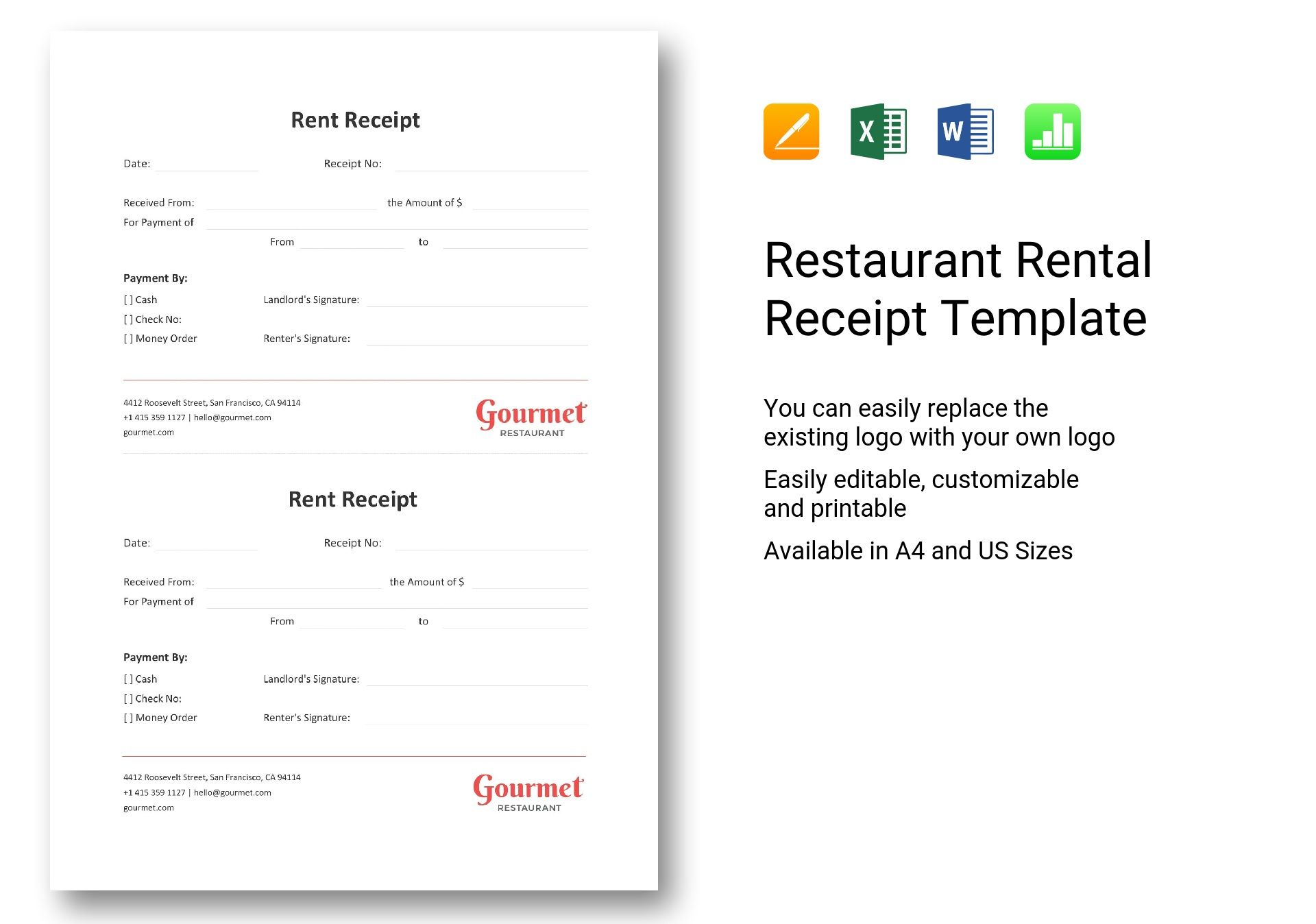 Restaurant Rental Receipt Template In Word Excel Apple