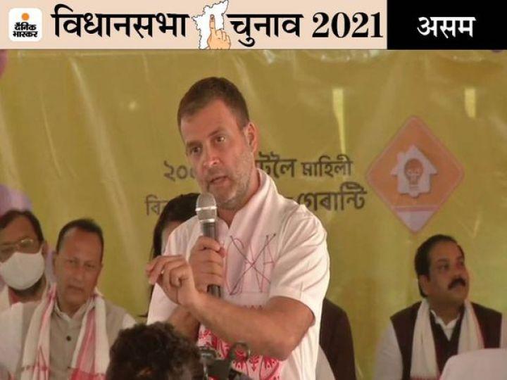 राहुल गांधी ने कहा कि भाजपा के लोग एक धर्म से दूसरे धर्म को लड़ाकर, एक व्यक्ति को दूसरे व्यक्ति से लड़ाकर एयरपोर्ट, टी-गार्डन सहित सब कुछ अपने दोस्तों को दे रहे हैं। - Dainik Bhaskar