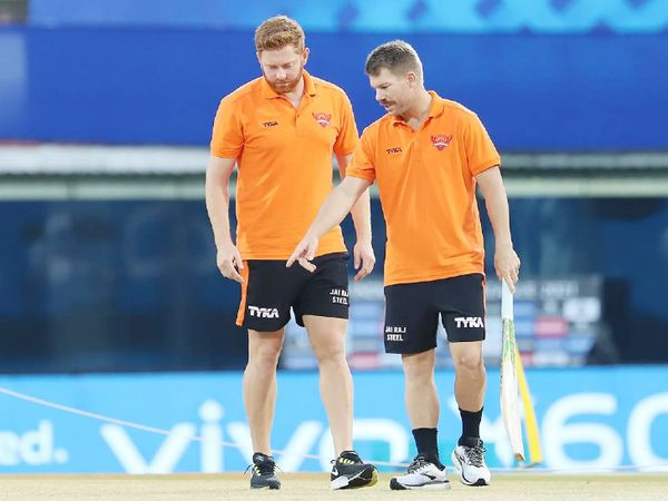 Sunrisers Hyderabad's Johnny Bairstow and David Warner inspecting the pitch before the match begins.