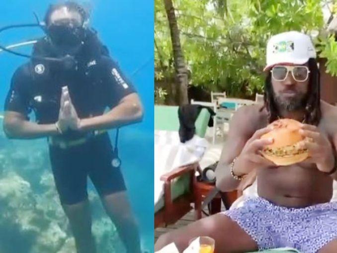 पानी में नमस्ते का पोज देते क्रिस गेल। उन्होंने मालदीव में ही अब तक का सबसे बड़ा बर्गर खाया। - Dainik Bhaskar