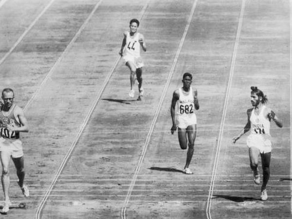 Milkha Singh (right) during the 1960 Rome Olympics.