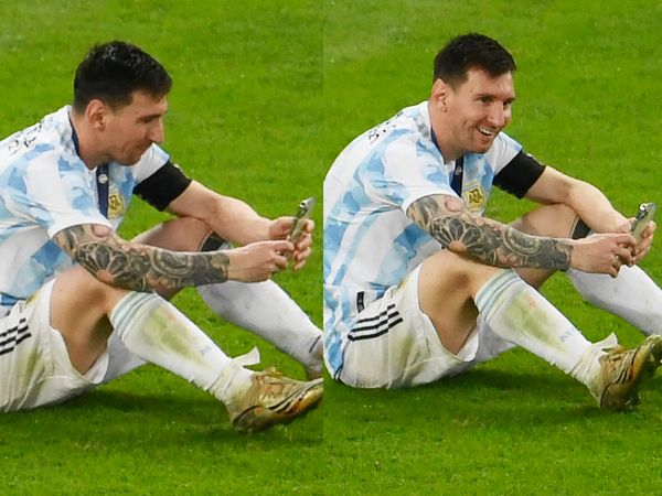 Messi looked emotional after the match.  He also interacted with wife Antonella and children.