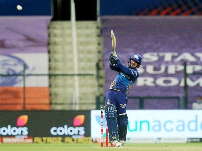 मुंबई इंडियंस के ओपनर क्विंटन डिकॉक ने आईपीएल में अपनी 13 वीं फिफ्टी लगाई और 78 रन बनाकर नॉट आउट आउट हुए।