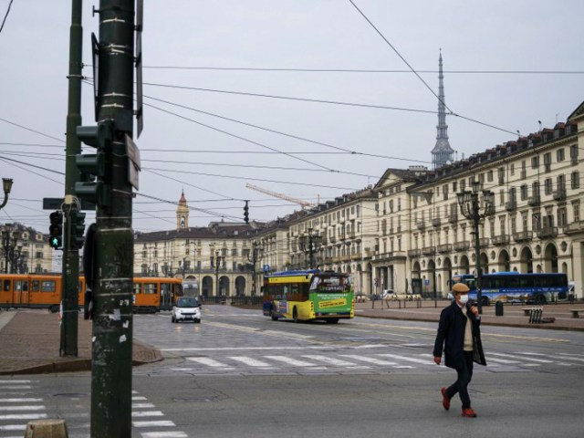 The markets in Turin, Italy, appeared empty on Friday evening.  The government announced an indefinite night curfew here.