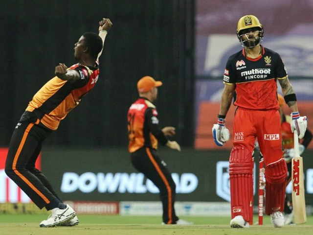 Kohli, who got to open for the first time in the season, was dismissed by Jason Holder in his first over.