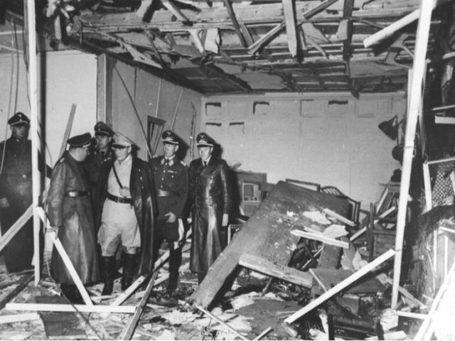 Nazi Party officials investigating the scene after the blast.