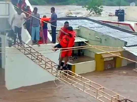 Several houses have been submerged in water in Junagadh.  NDRF team is engaged to evacuate the people.