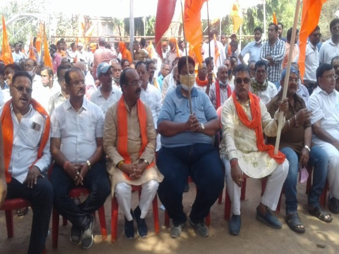 BJP MP Arun Saw was also present in the demonstration in Bilaspur.