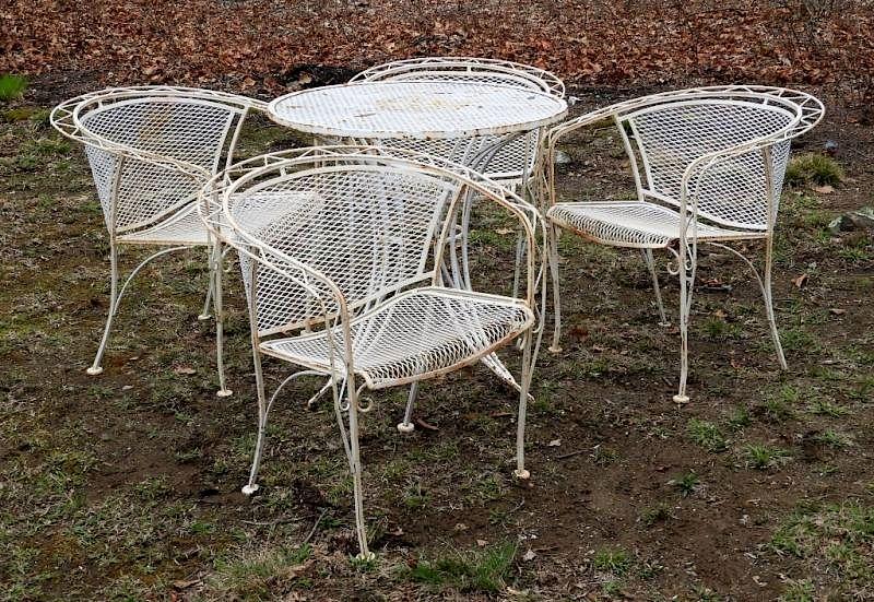 vintage wrought iron white mesh patio set