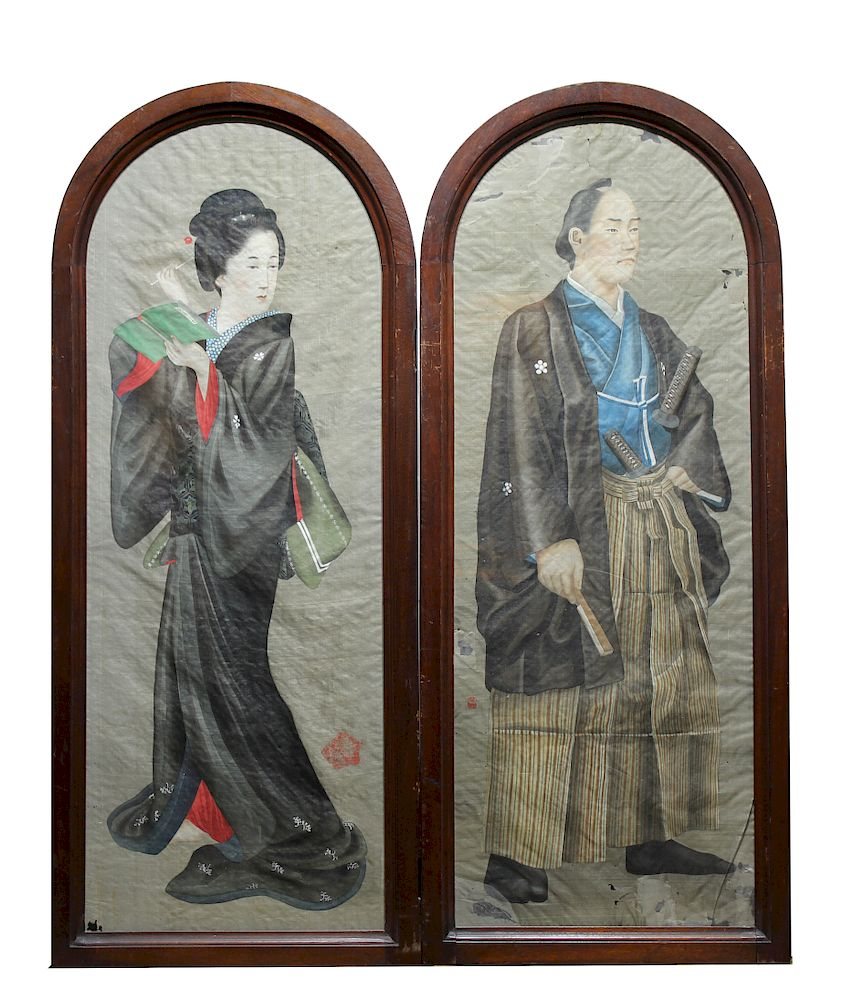 Antique Japanese Portraits on Silk. Signed