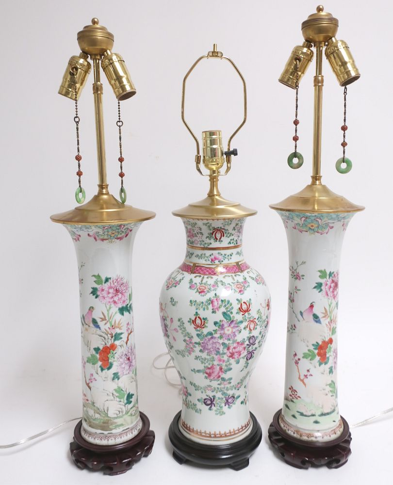 3 Chinese Famille Rose Porcelain Table Lamps