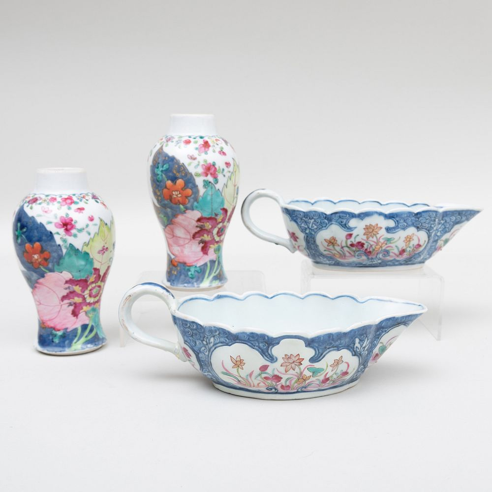 Pair of Chinese Export Porcelain Blue Ground Sauce Boats and a Pair of Miniature 'Tobacco Leaf' Pattern Vases