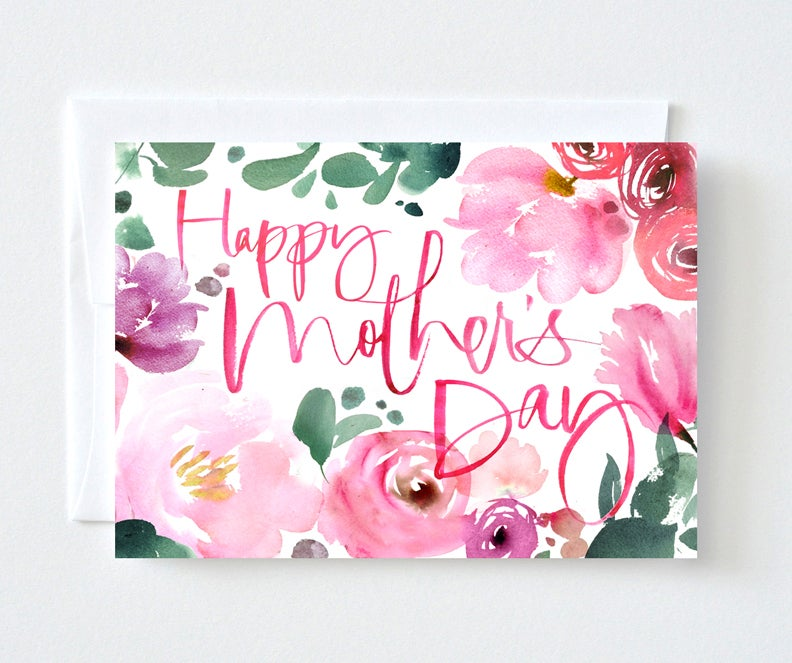 Julie Song Ink Floral Watercolor Mothers Day Card