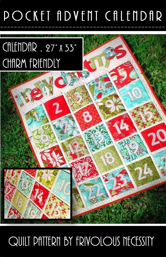 Frivolous Necessity Pocket Advent Calendar Quilt Pattern PDF
