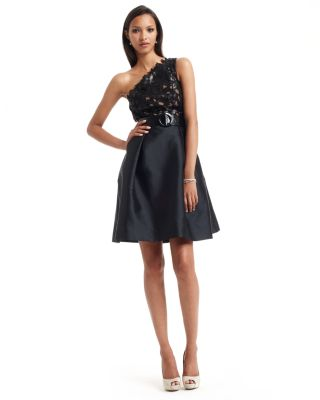 Theia One-Shoulder Illusion Lace Belted Dress
