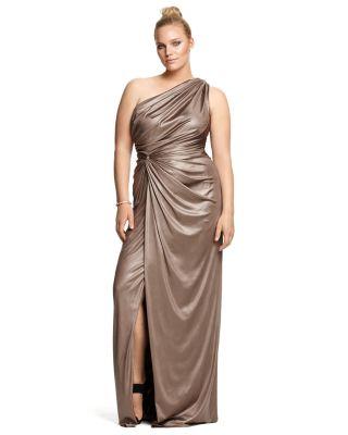 Tadashi Shoji Plus Size One-Shoulder Draped Gown