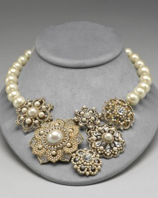 Carolee Lux Women's Flower Frontal Collar Necklace 17""