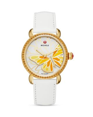 MICHELE Limited Edition Garden Party Topaz Amp Diamond Butterfly Watch Head 36mm Amp White