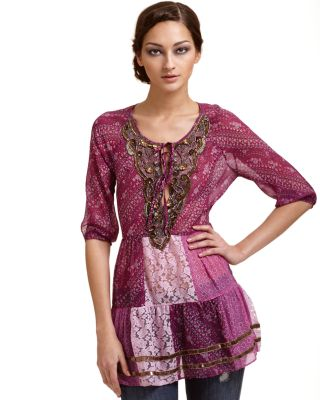 "Free People ""Indian"" Sheer Embellished Patchwork Tunic"