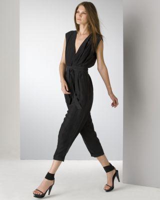 Helmut Lang Black Silk High Waisted Jumpsuit