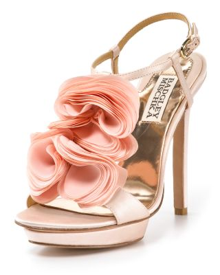 "Badgley Mischka ""Randee"" High Heel Ruffle Flower Sandals"