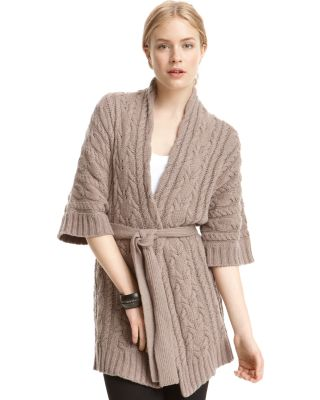BCBGMAXAZRIA Belted Cable-Knit Cardigan