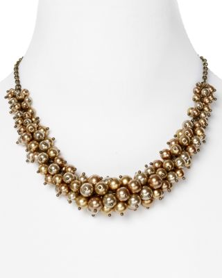 Carolee Golden Rules Bronze Cluster Necklace, 18""
