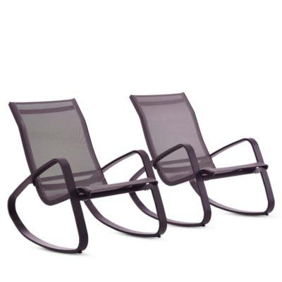 modway traveler outdoor patio mesh sling rockers set of 2
