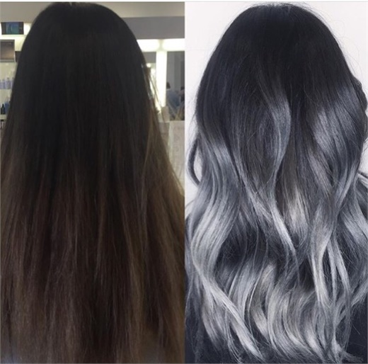 MAKEOVER Faded Balayage To Silver Sombre Hair Color
