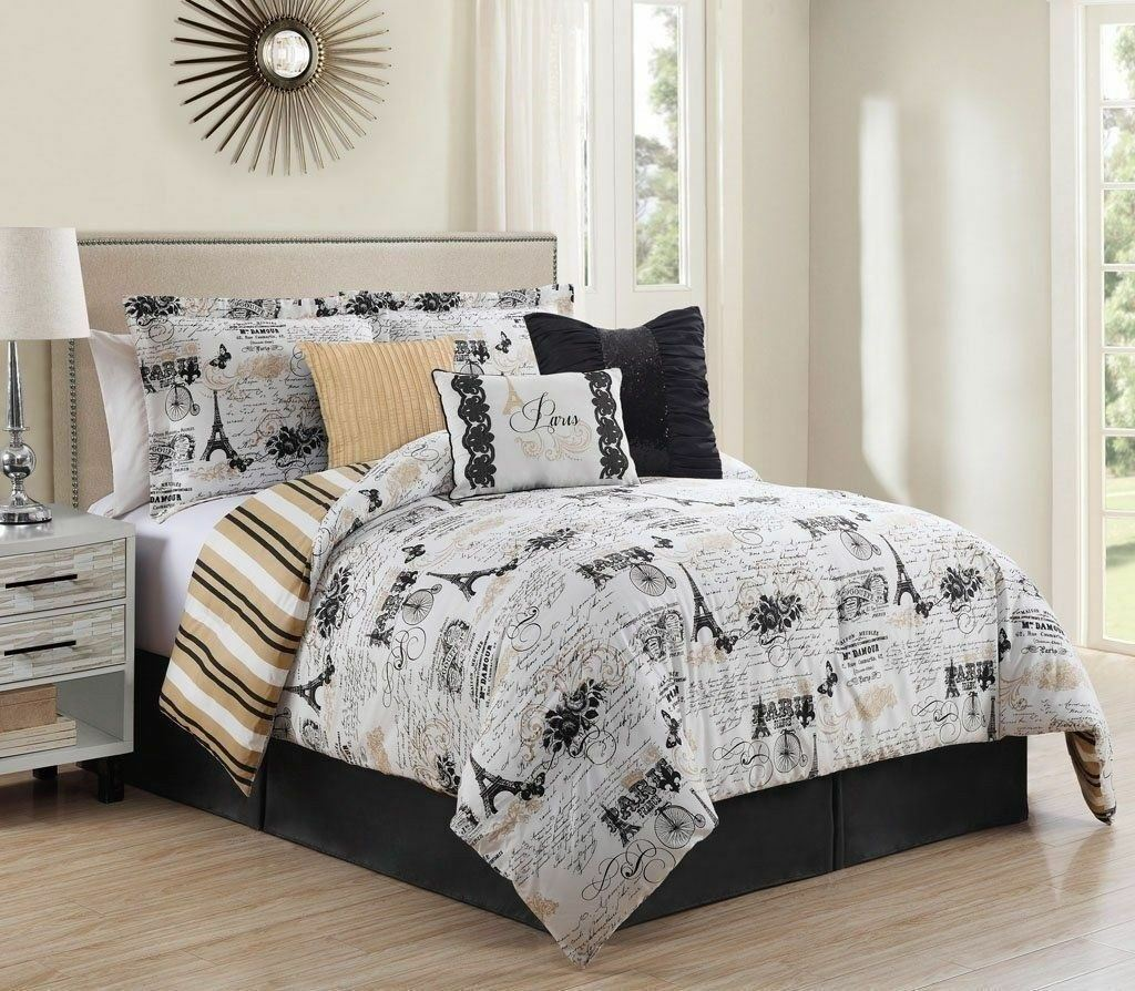 Queen Cal King Bed Black White Tan Paris French Newspaper
