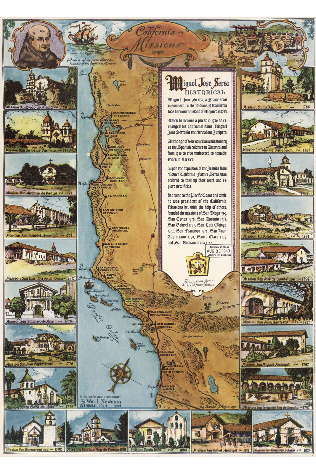 California Missions Antique Pictorial Map