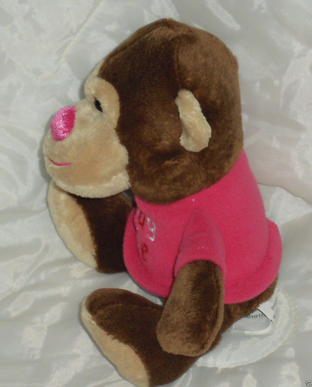 Walmart Hug Me Monkey Brown Pink Heart Stuffed Animal