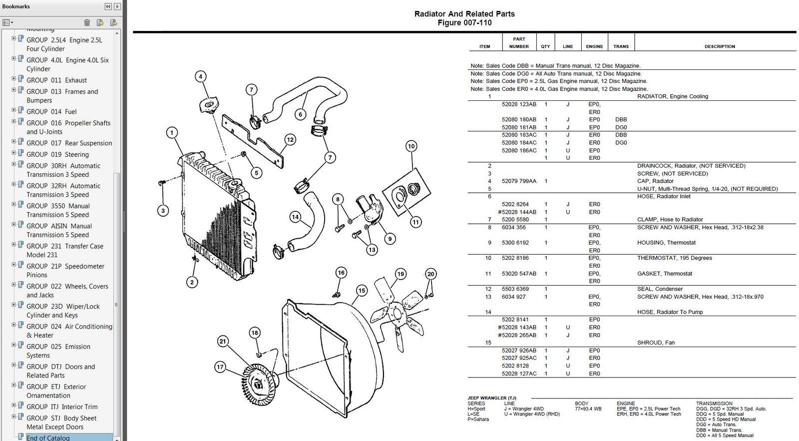 Jeep Wrangler Tj Factory Parts Catalog