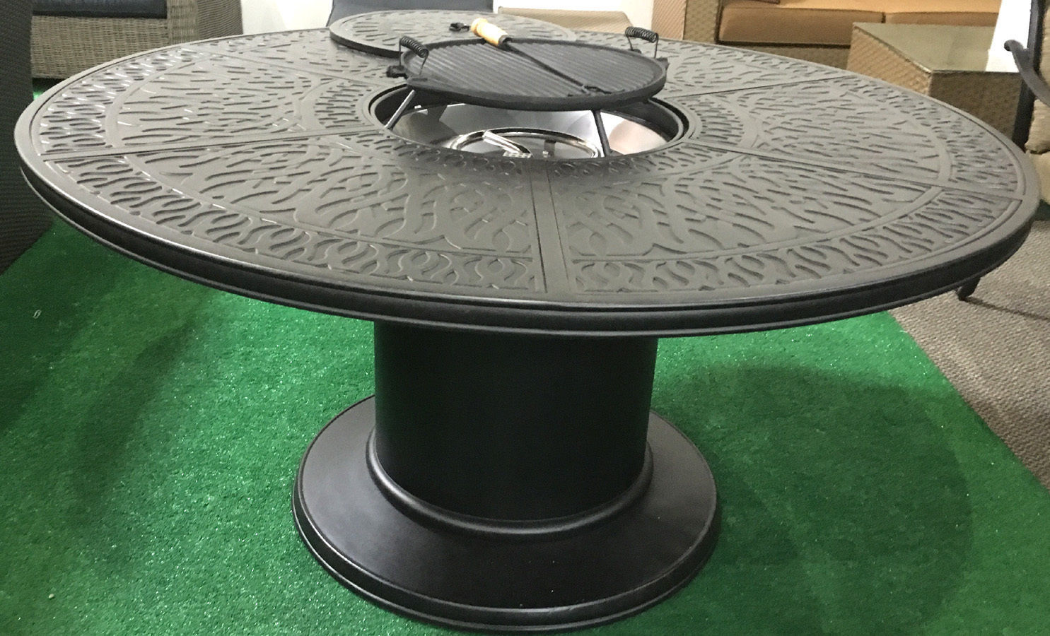 Propane fire pit table 7 pc Nassau patio dining set ... on Outdoor Dining Tables With Fire Pit id=80623