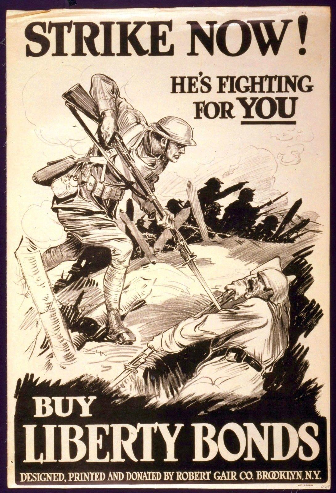 Wwi Propaganda Poster World War 1 Sol R About To Bayonet