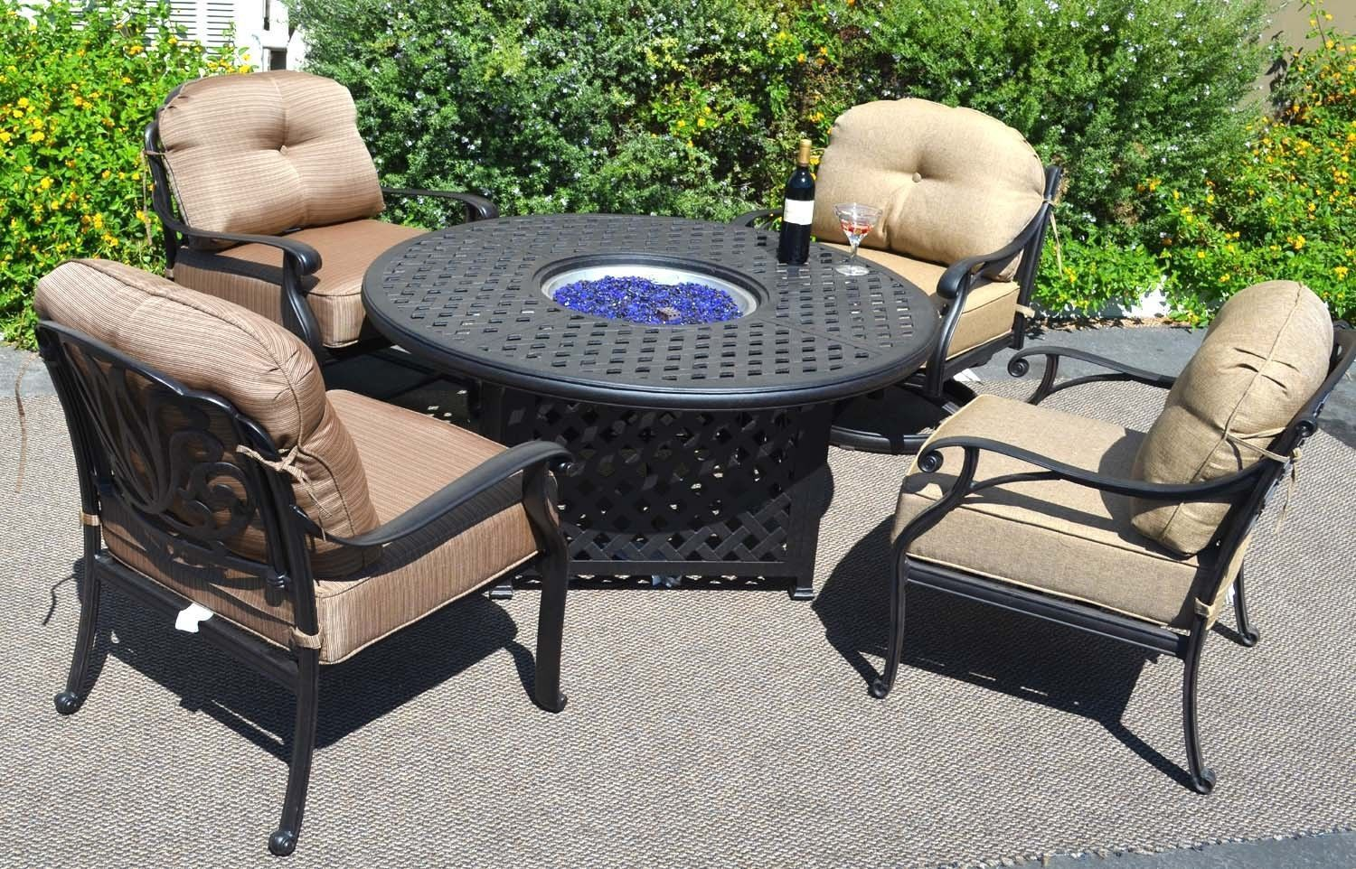 Outdoor Propane Fire Pit Table Set of 5 Elisabeth Deep ... on Outdoor Dining Tables With Fire Pit id=70843