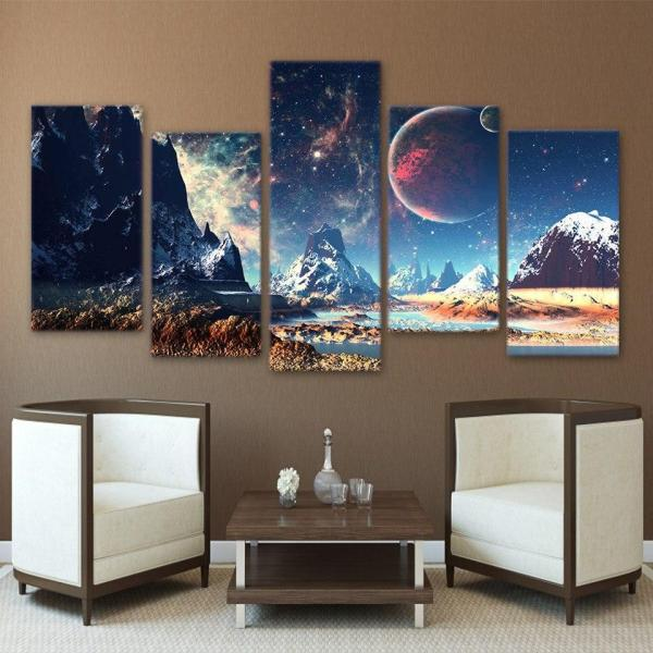 Galaxy Picture Painting Nebula Canvas Art Poster Snow ...