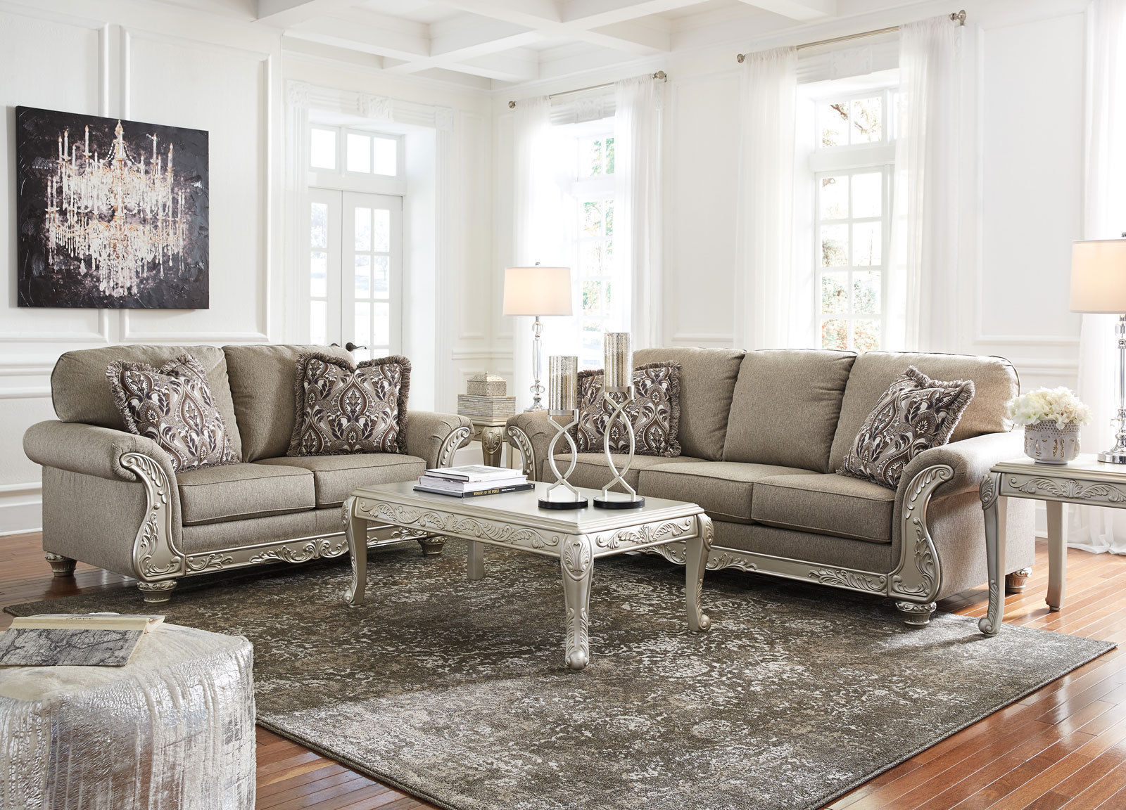 NEW Traditional Living Room Couch Set Wood Trim Gray