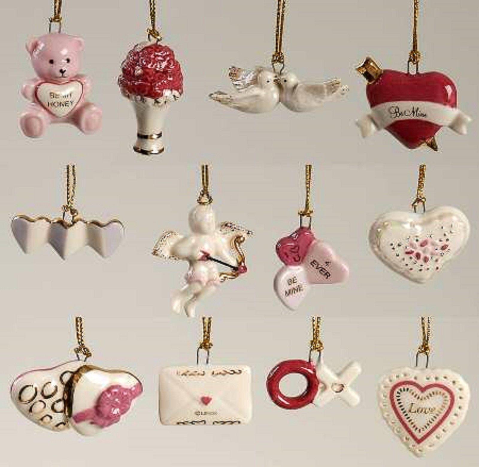 Lenox Valentine Be Mine Miniature Tree Ornaments Set Of 12