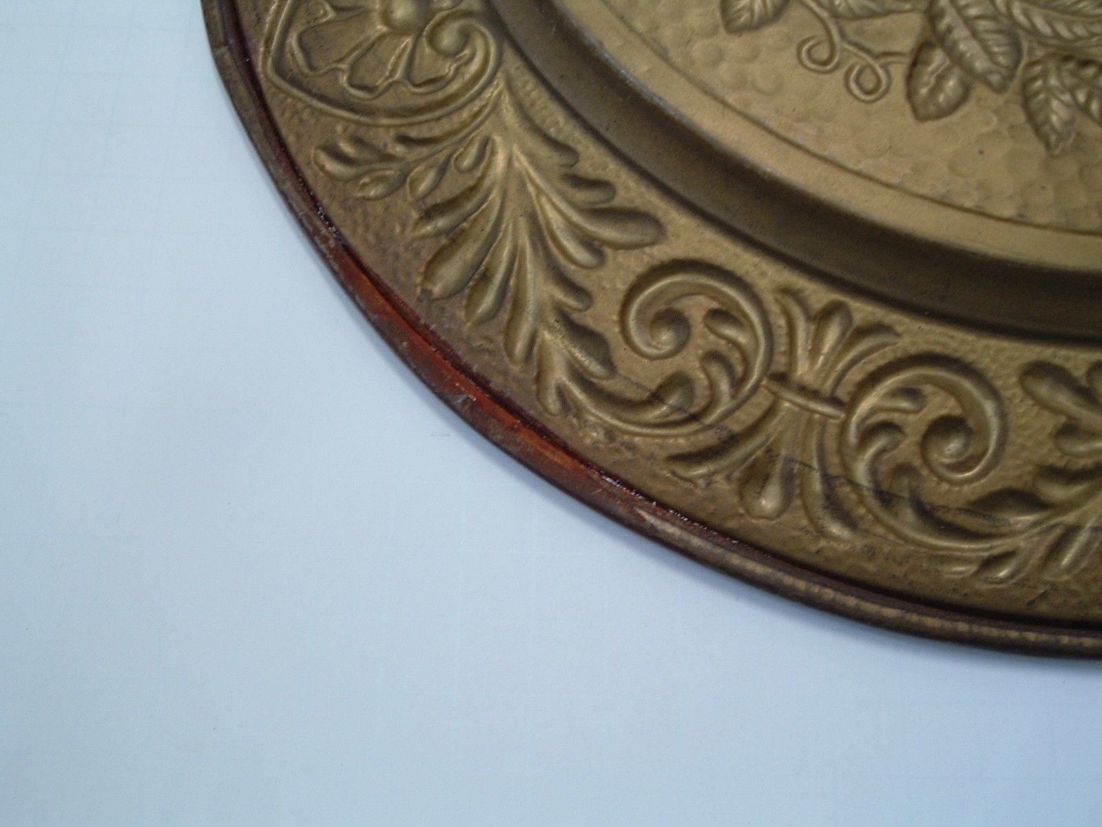 Vintage Round Metal Gold Embossed Stamped Fruit Decor