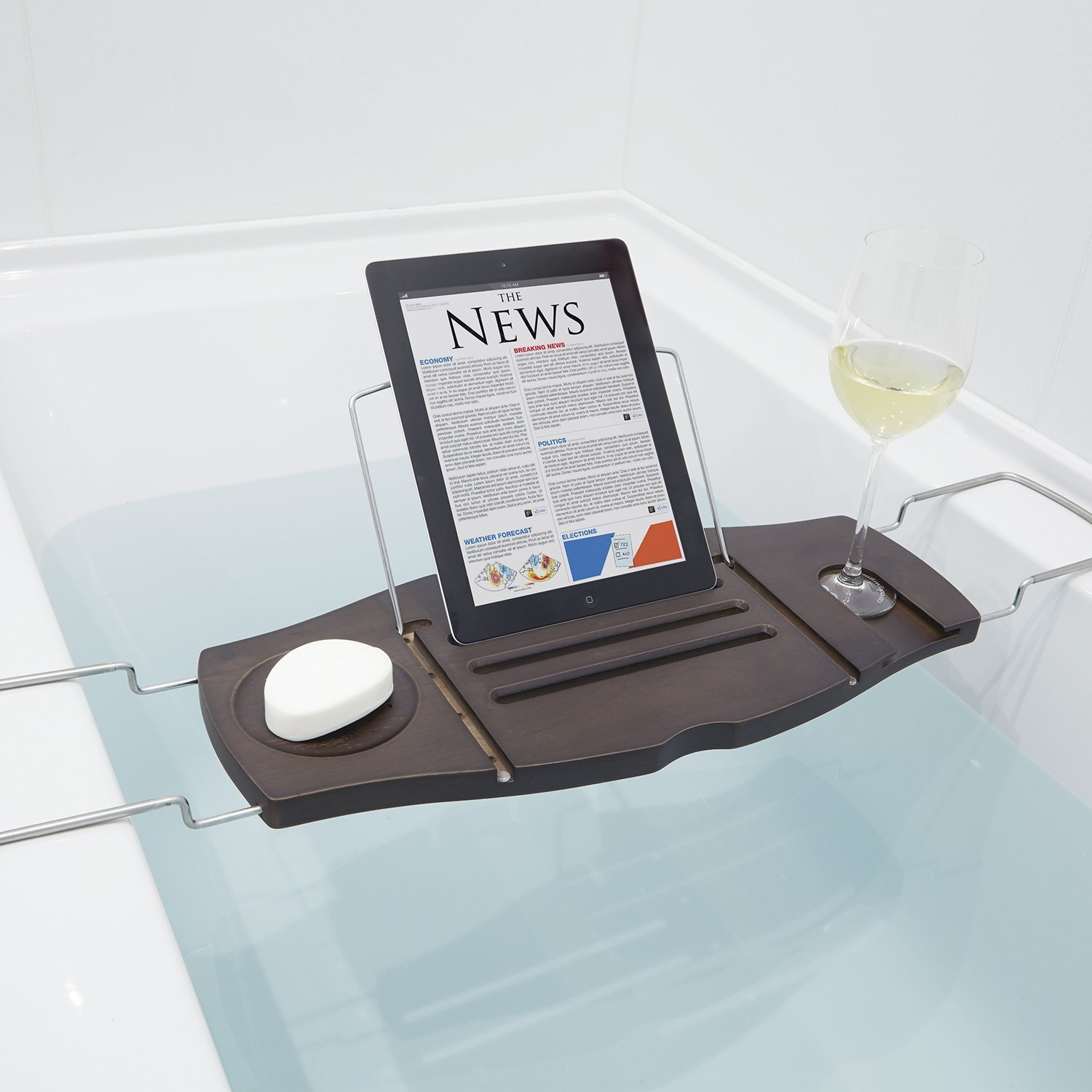 Bathroom Bathtub Laptop Wine Glass Candle Holder Shelf